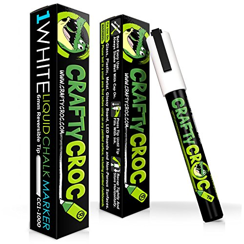 Crafty Croc White Liquid Chalk Marker, (Pack of 1), Wet Erase Reversible - Glasses Brands All Review