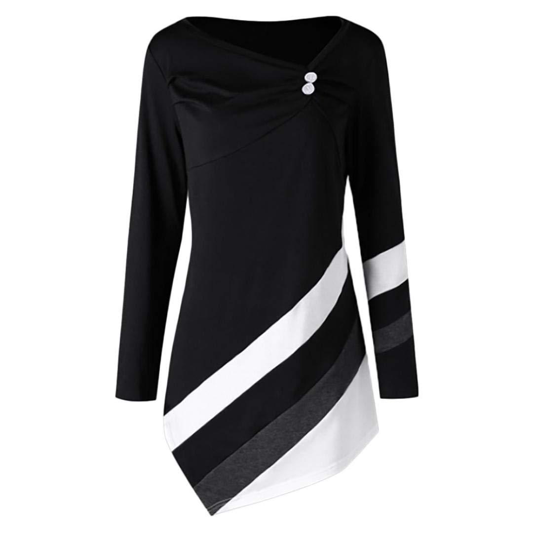 IMJONO Frauen Herbst Winter Gestreifte Asymmetrische Bluse