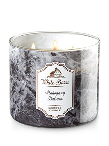 Bath and Body Works White Barn Scented Candle 3 Wick Mahogany Balsam 14.5 Ounce (Barn Candle)