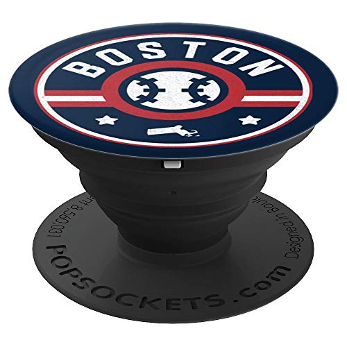Boston Baseball Stars and Stripes Massachusetts Map Outline PopSockets Grip and Stand for Phones and Tablets