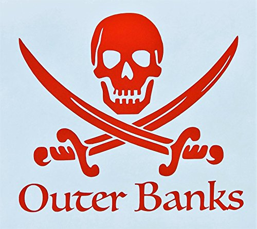 Custom Pirate Outer Banks OBX Vinyl Decal - North Carolina Bumper Sticker, for Coolers, Boats, Laptops, Car -