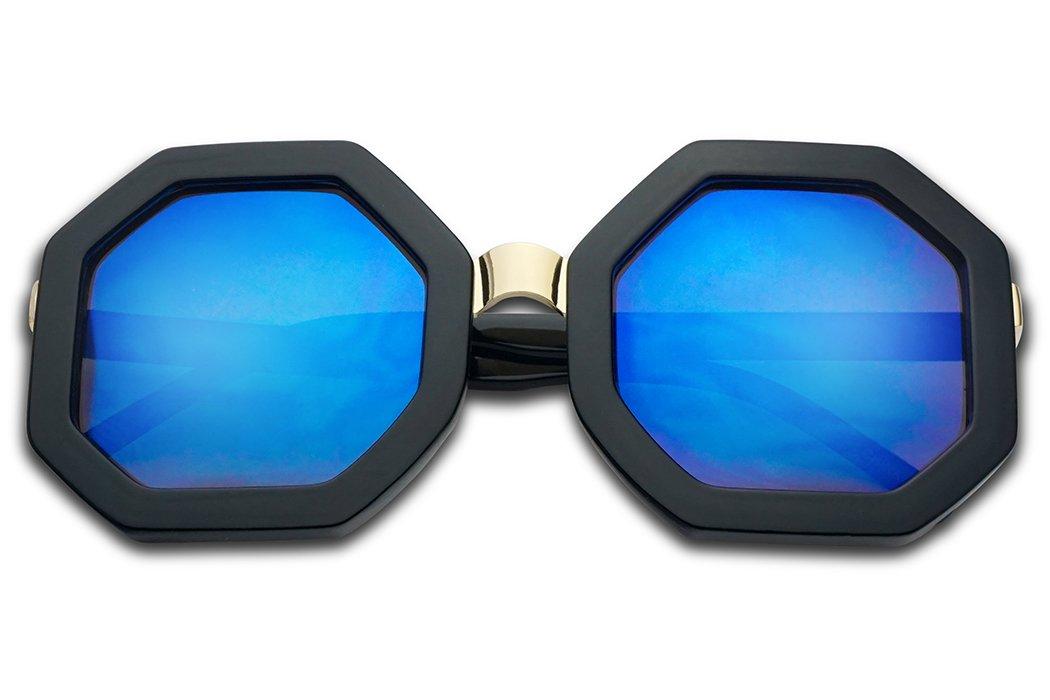 SunglassUP- Bold Geometric Metal Bridge Octagon Shape Vintage Sun Glasses W/Light Mirrored Lens (Black, Blue Mirror) by SunglassUP