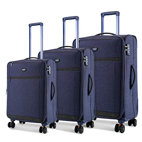 SHOWKOO Luggage Sets Expandable 3 Piece Softshell Lightweight & Durable Suitcase Impact Resistant Double Spinner Wheels TSA Lock