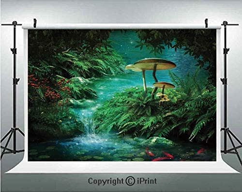 Fantasy Decor Photography Backdrops View of Fantasy River with a Pond Fish And Mushroom in Jungle Trees moss eden,Birthday Party Background Customized Microfiber Photo Studio Props,10x6.5ft,Green Teal