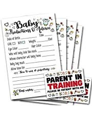 50 Baby Prediction and Advice Cards for Baby Shower   Parent in Training Stickers, Gender Neutral   Gender Reveal Shower Activity