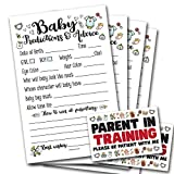 50 Baby Prediction and Advice Cards for Baby Shower | Parent in Training Stickers, Gender Neutral | Gender Reveal Shower Activity
