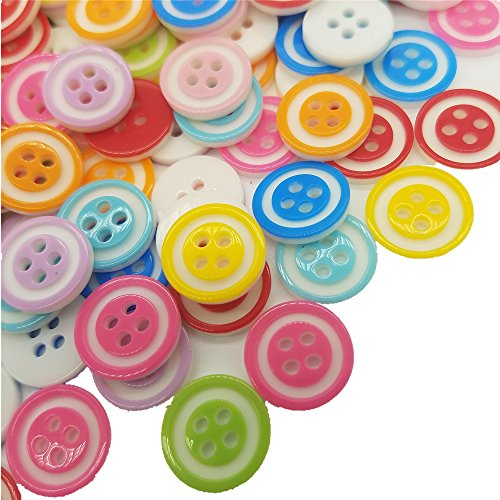 - 200 Pieces Assorted Buttons Size 1/2 Inch for Arts & Crafts Decoration Collections Sewing Different Color for Crafts Resin Four Holes Buttons Craft Buttons Favorite Findings Basic Buttons