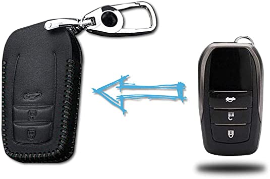 3 Buttons Leather Case Protector Key Fob Cover Smart Car Remote Holder
