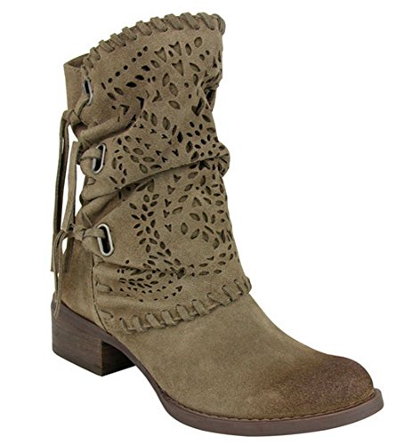 (Naughty Monkey Women's Vamp Phyer Ankle Bootie, Taupe, 8 M US)