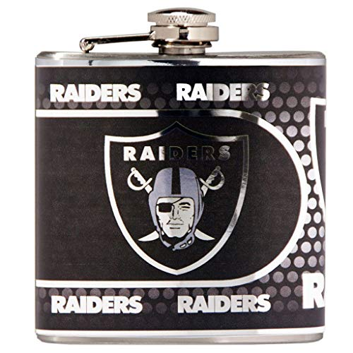 (Great American Products NFL Oakland Raiders Stainless Steel Hip Flask with Metallic Graphics, 6-Ounce, Silver)