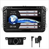8 Inch Double Din In Dash Car Stereo for Volksvagen VW Golf Polo Passat Jetta Tiguan Skoda Seat with DVD Player GPS Navigation video Audio FM AM Radio Bluetooth 3G USB IPS capacitive touch screen