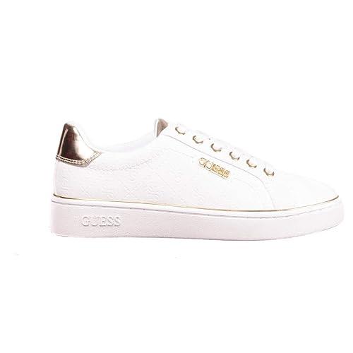 GUESS, Beckie White Zapatilla Blanco/Dorado para Mujer: Amazon.es: Zapatos y complementos
