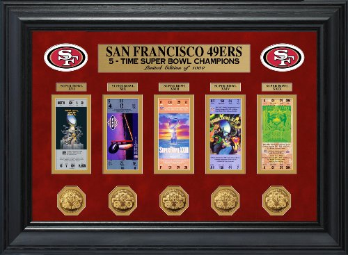 Coins Photomint Framed (NFL San Francisco 49ers Super Bowl Ticket and Game Coin Collection Framed, Gold, 32