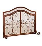 Large Crest Fireplace Screen with Doors, Solid Wrought Iron Frame with Metal Mesh, Decorative Scroll Design, Free Standing Spark Guard 44 W x 33 H x 13 D, Copper Finish
