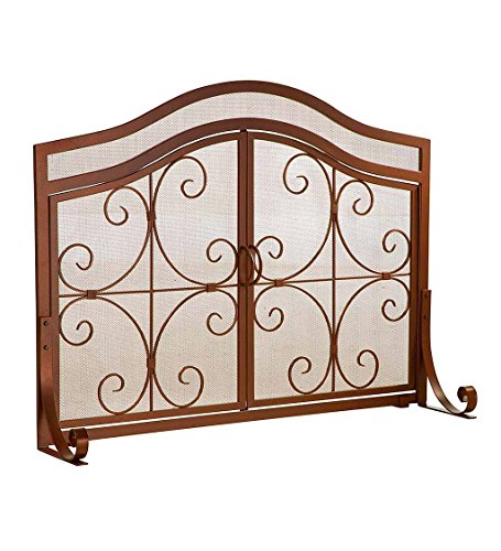 Large Crest Fireplace Screen with Doors, Solid Wrought Iron Frame with Metal Mesh, Decorative Scroll Design, Free Standing Spark Guard 44 W x 33 H x 13 D, Copper (Arch Door Frame)