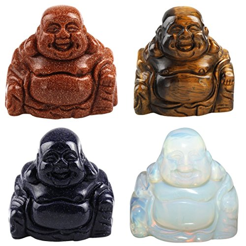 Gold Mixed Stones - SUNYIK Blue Sand Gold Sand Tiger's Eye Stone Oaplite Hand Carved Happy Buddha Statue 1.5