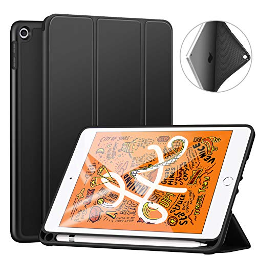 ZtotopCase for iPad Mini 5 2019 with Pencil Holder, Lightweight Soft TPU Back and Trifold Stand Smart Cover with Auto Sleep/Wake,Protective for iPad Mini 5th Generation 7.9