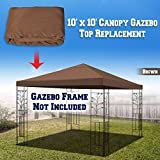 BenefitUSA 10'X10' Replacement Top Gazebo Canopy Cover Patio Pavilion Sunshade Plyester single tier (Brown)