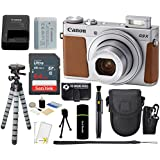 Canon PowerShot G9 X Mark II 20.1MP Full HD 1080p Wi-Fi IS Digital Camera (Silver) + SanDisk 64GB Card + Reader + Card Wallet + Case + Tripod + Accessories Bundle
