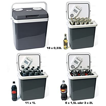 Dino KRAFTPAKET 131001 Kühlbox 12V 230V (WÄRMT & KÜHLT) HÖHE: 44cm GRÖSSE: 32-Liter (28L netto) Elektrische Kühlbox für Auto Boot Camping, A++ mit ECO-Modus 4