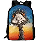 CY-STORE Animal Ostrich Art Print Custom Casual School Bag Backpack Travel Daypack Gifts
