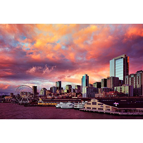 Stunning Sunset Over Seattle Waterfront Skyline Pier 54 Pacific Northwest Fine Art Architecture Photography (Waterfront Art Set)