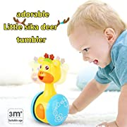 Baby Toys Early Education Cute Tumbler Doll Baby Toys3-24Months with Shaking Nod Function and Sweet Tones Infant Toys-Deer