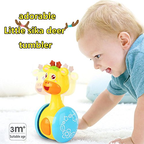 - ZLFT Baby-Toys Early Education 3 Months + Baby Hip Hop Swing Reindeer Children Tumbler Animal Toys Rocking Sliding Animals Toys Giraffe Tumbler Doll Baby Toys for Children & Kids Boys and Girls