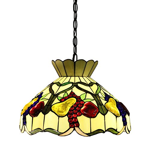 Tiffany Style Chandelier Lighting 2 Light Pendant Hanging Lamp Victorian Ceiling Light Fixture H 40 x 16 D inches Shade Colorful Design Bronze Finish + Bonus Free eBook Lighting Trends (Bronze Hanging Victorian)