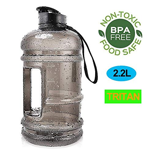 Water Jug 2.2L Large Sport Water Bottle Big Capacity Leakproof Container BPA Free Plastic with Carrying Loop Fitness for Camping Training Bicycle Hiking Gym Outdoor (Tritan-2.2L-Transparent Black)
