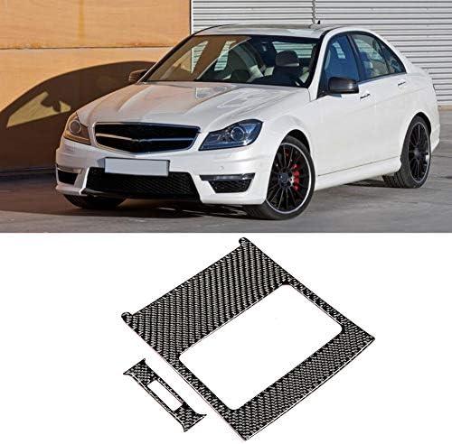 Suuonee Air Vent Outlet Panel Trim Car Carbon Fiber Rear Air Vent Outlet Panel Cover Trim Fit for C-Class W204 05-12