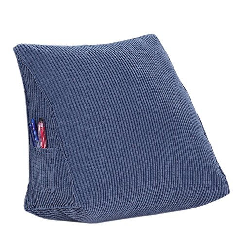 EONSHINE Fluffy Soft Down Alternative Filled Triangle Wedge Cushion Pillow for Bed Sofa Backrest Reading, Corduroy, Pack of 1 (15.7x12x8, Blue) ()