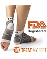 Compression Foot Sleeves By Treat My Feet - Relief From Foot Pain, Swelling & Edema - Improves Blood Circulation & Provides Achilles Heel & Plantar Fasciitis Arch Support - FDA Registered Ankle Socks