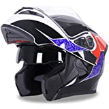 Open Face Motorcycle Helmet with Dual Visor Flip Up Motorcycle Helmet DOT Approved Motocross (XL