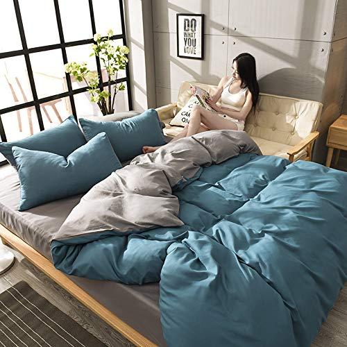 Price comparison product image ZT-HOME Solid Color Duvet Cover,100% Cotton Double Bedding Sets,Flannelette Duvet Cover Set Printed Pattern Girl cot Bedding Sets-B-Queen