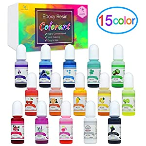 Epoxy Resin Pigment – 15 Color Liquid Epoxy Resin Dye – Highly Concentrated Epoxy Resin Colorant for Resin Color Art, DIY Jewelry Making Supplies – AB Resin Coloring for Paint, Crafts – 10ml Each