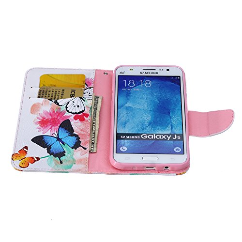 Funda Samsung J5, Samsung Galaxy J5 Carcasa Funda Cuero [Pluma Libre] Samsung Galaxy J5 Case Book Estilo Libro billetera con correa de cordón Magnético Folio Flip Caso pata de cabra titular de la tarj Dos mariposas