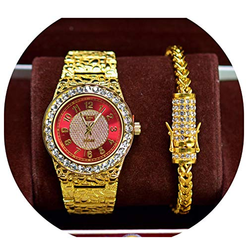 (Mens Gold Toned Red Face Fashion Bling Iced Out Nugget Metal Band Watch & Stainless Steel Bracelet Set)