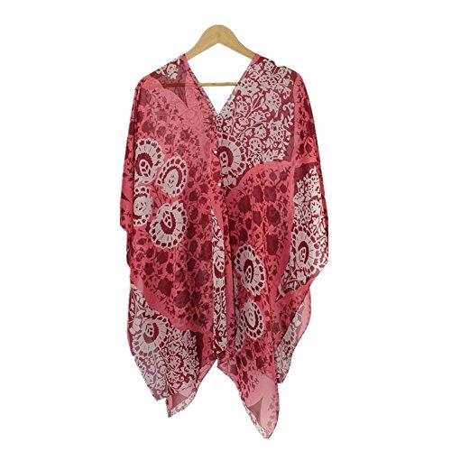- Fanssie Women's Fashion Swimwear Beachwear Bikini Cover ups Beach Dresses Tops (Wine Red)
