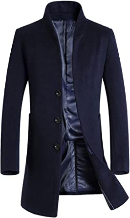 Langer Wollmantel Narben Schlanker Mode mit Stehkragen Herren Nähte Warmer Mantel Abnehmbarer Winter DHE2e9YWbI