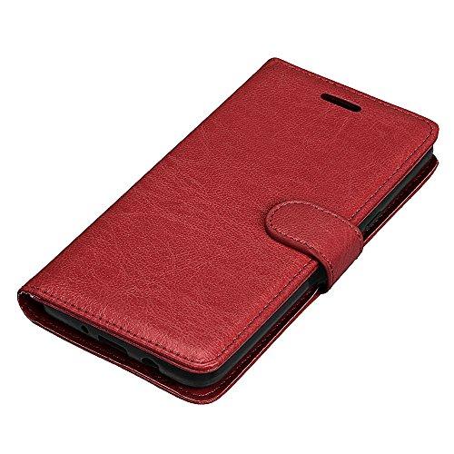 JIALUN-Personality teléfono shell Funda de cuero magnética de la cartera de la PU del diseño de la hebilla magnética, [ranuras de 3 tarjetas] Cubierta de la caja del soporte del tirón horizontal para  Brown