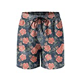 Hibiscus Flowers Wallpaper Mens Quick Dry Classic Fit Beach Shorts Drawstring