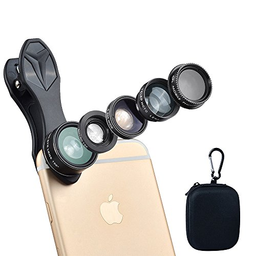 ISSIKI Electronics HD Cell Phone Camera Lens Kit for iPhone 6/ 6s Plus/ SE/ 7/ Samsung Galaxy S8/ S8+/ S7/ S7 Edge/ S6 Edge/ S5 and Other Android Smart Phone (5 in 1)
