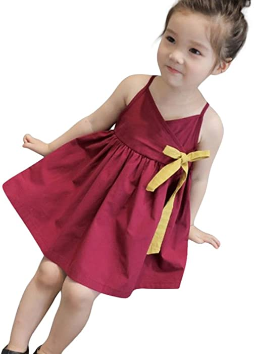 Toddler M/ädchen Kleid Bohemia /Ärmellos Tutu Sommerkleid Kuh Druck Party Prinzessin Dress Casual T-Shirt Beach Kleid Fr/ühlings Herbst Cocktailkleid HUIHUI Kleid M/ädchen
