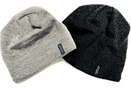 Cascade Mountain Tech Merino Wool Beanie Hat Two Pack Dark Grey and Light Grey for Men,Women, and Kids (Running Wool Hat)