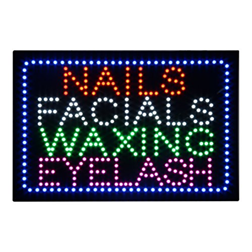 LED Nails Facial Waxing Eyelash Open Light Sign Super Bright Electric Advertising Display Board for Eyelash Extension Business Shop Store Window Bedroom 24 x 15 inches ()