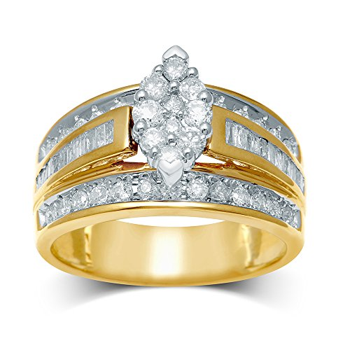 - Saris and Things 10K Yellow Gold 0.95 ct.tw Diamond Flower Ring