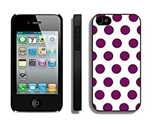 Best Apple Iphone 4s Black Case Durable Soft Silicone PC Polka Dot White and Purple Spot Speck Cell Phone Case Cover Accessories for Iphone 4