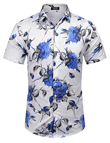 Floral Silk Camp Shirt - COOFANDY Men's Casual Hawaiian Shirt Short Sleeve Floral Printed Shirts Button Down Aloha Shirt for Beach,Holiday,Luau,Party