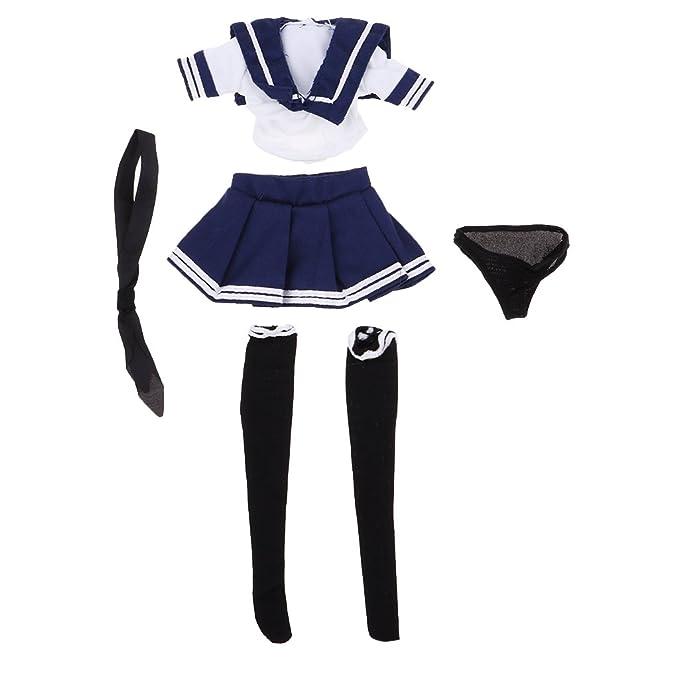 Perfeclan 1/6スケール ドール衣装 女の子 JKスカート 学校 制服 シャツ ストッキング ネクタイ パンツ 12インチアクションフィギュア
